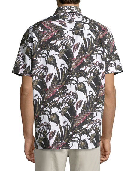 Foliage-Print Short-Sleeve Cotton Sport Shirt, White
