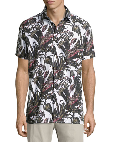 Salvatore Ferragamo Foliage-Print Short-Sleeve Cotton Sport