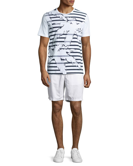 Striped Palm Leaf Graphic T-Shirt, White