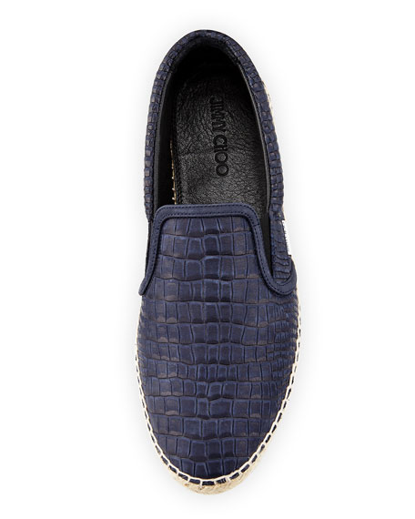 Vlad Men's Crocodile-Print Espadrille Slip-On Sneaker, Blue