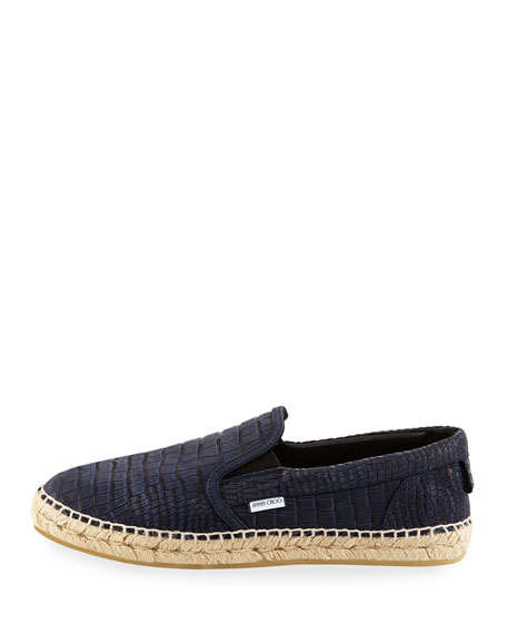 Vlad Men's Crocodile-Print Espadrille Slip-On Sneaker, Blue
