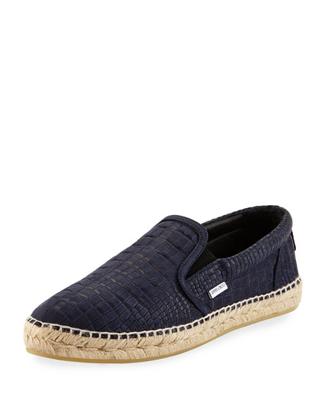 Jimmy Choo Vlad Men's Crocodile-Print Espadrille Slip-On Sneaker,