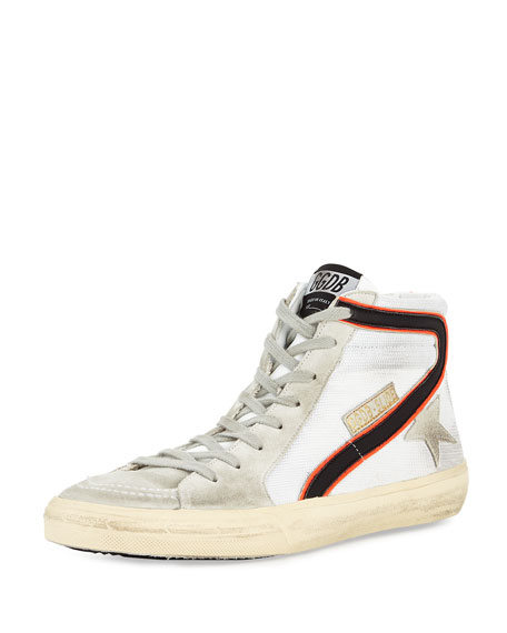 Golden Goose Men's GGDB-Slide Mesh High-Top Sneaker, White