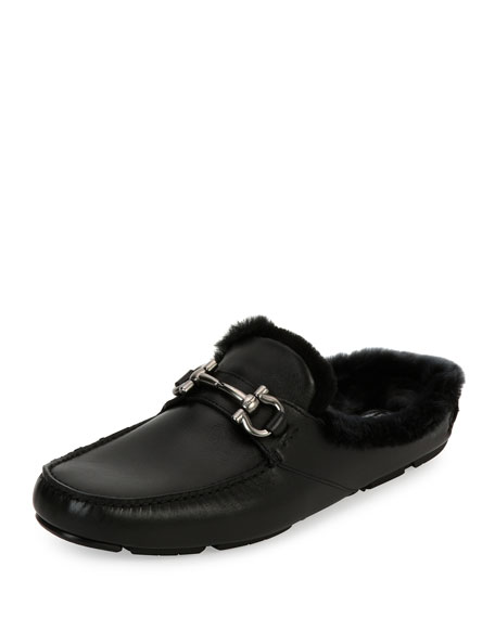 Salvatore Ferragamo Men's Leather Slipper with Shearling Fur