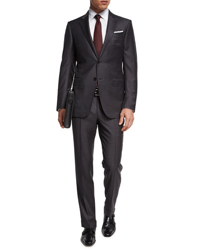 Trofeo® Wool Check Two-Piece Suit  Gray/Brown