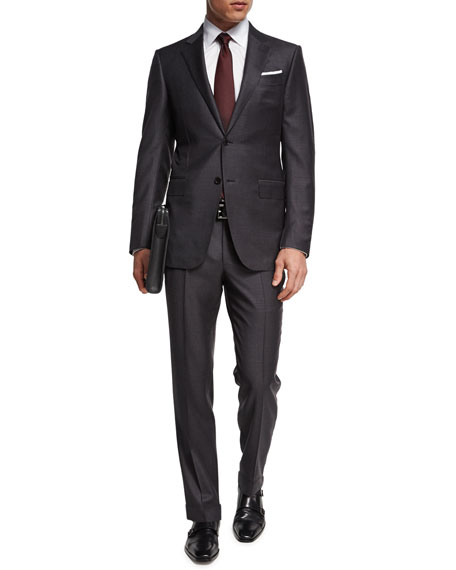 Trofeo® Wool Check Two-Piece Suit, Gray/Brown