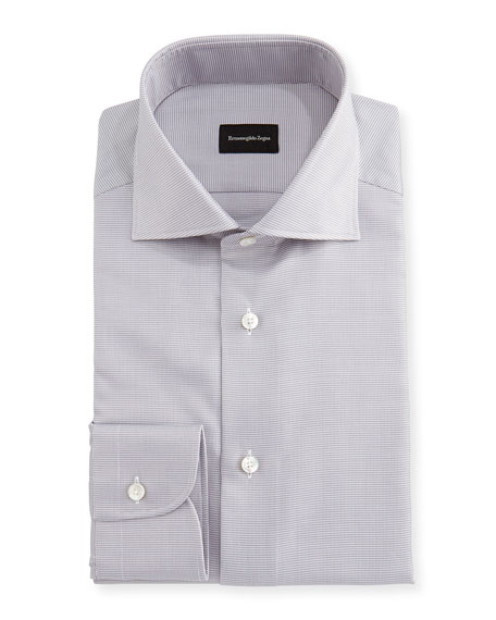 Micro-Houndstooth Cotton Dress Shirt, Gray/White