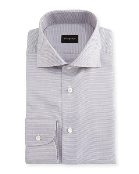 Ermenegildo Zegna Micro-Houndstooth Cotton Dress Shirt, Gray/White