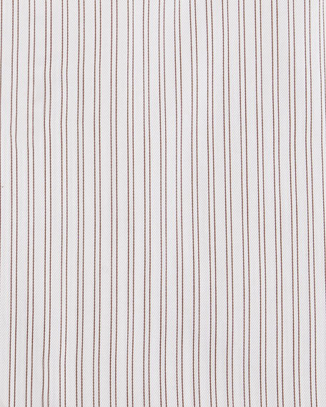 Image 2 of 2: Twin-Stripe Cotton Dress Shirt, White/Burgundy