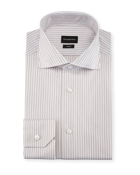 Image 1 of 2: Twin-Stripe Cotton Dress Shirt, White/Burgundy