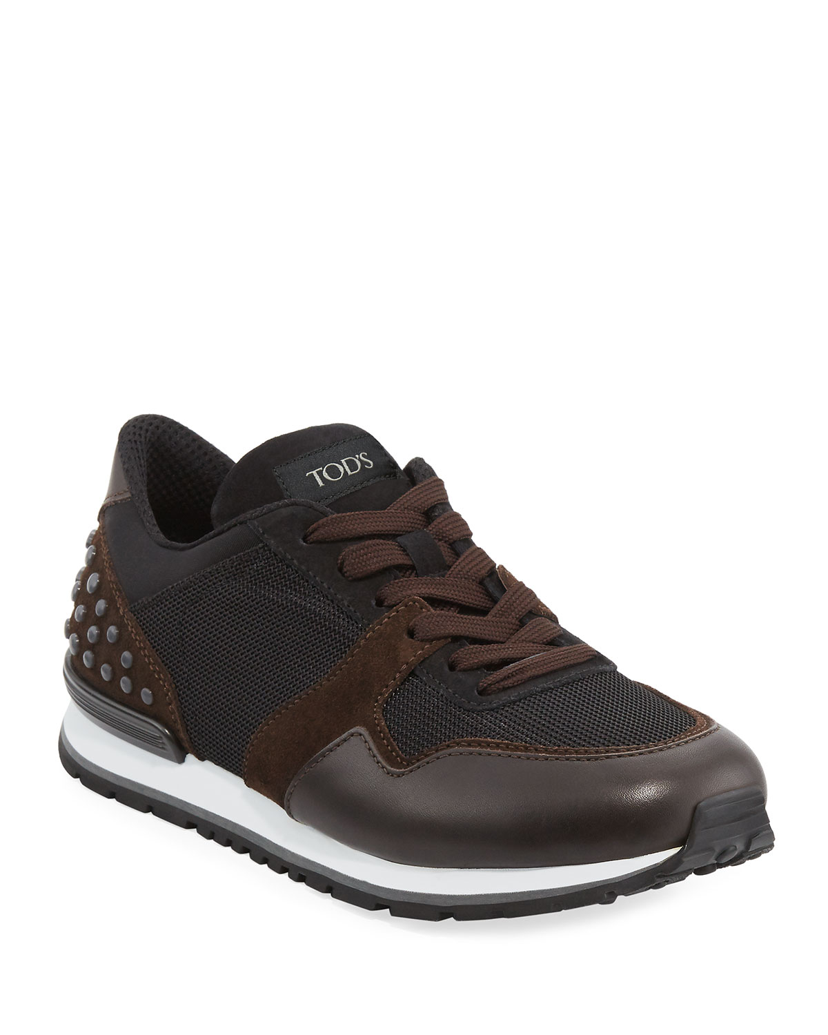 43ffc401f4 Tod's Men's Mesh & Leather Trainer Sneakers, Black/Brown   Neiman Marcus
