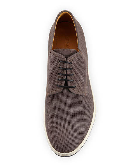 Image 3 of 4: Giorgio Armani Perforated Suede Derby Shoe, Black