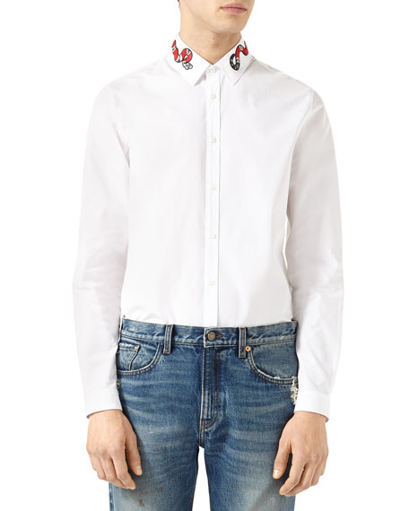 75490637 Gucci Duke Oxford Shirt with Snake | Neiman Marcus