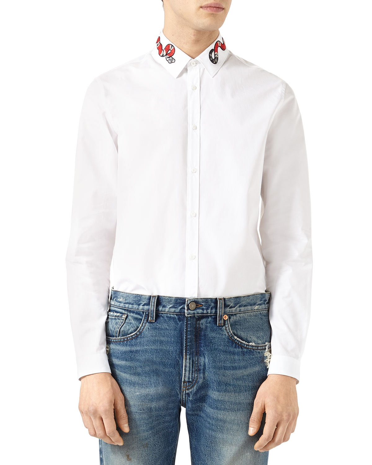 59f129a00 Gucci Duke Oxford Shirt with Snake | Neiman Marcus