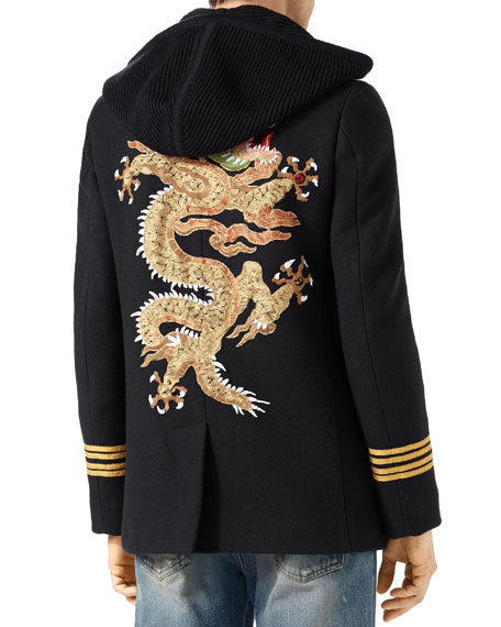 Twill Wool Pea Coat with Dragon Embroidery