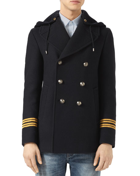 Gucci Twill Wool Pea Coat with Dragon Embroidery