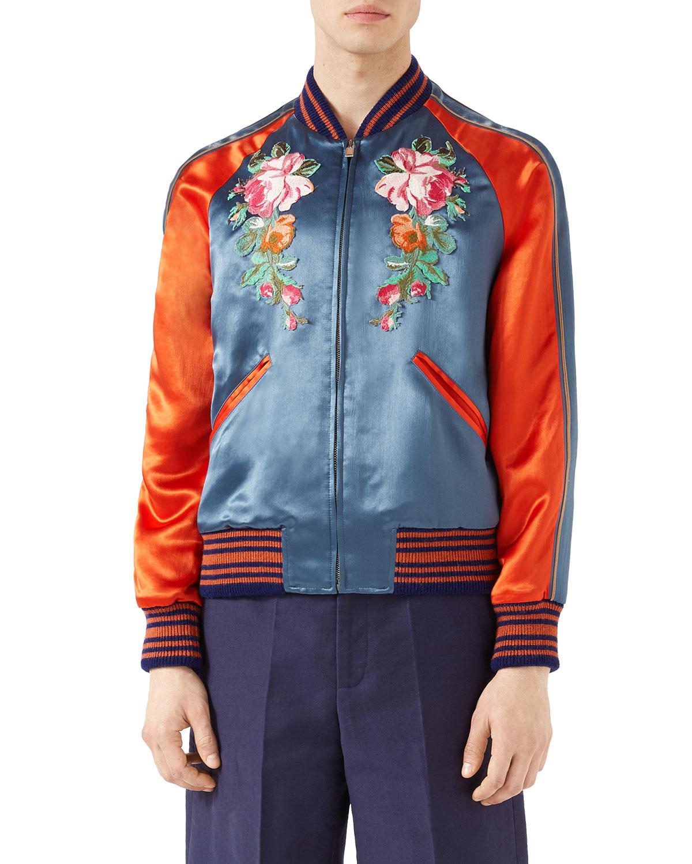 9070d424e Gucci Acetate Bomber Jacket with Appliqués | Neiman Marcus
