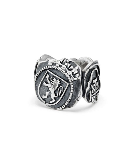 Men's Shipwreck Signet Coin Ring, 20mm