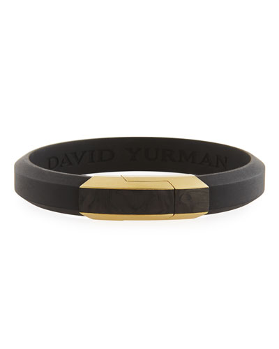Men's Carbon & 18k Gold I.D. Bracelet