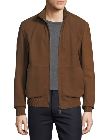 Ermenegildo Zegna Leather Bomber Jacket with Hood and