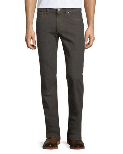 Melange Straight-Leg Jeans, Dark Brown/Gray