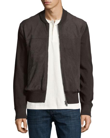 Suede-Front Merino Wool Zip Cardigan