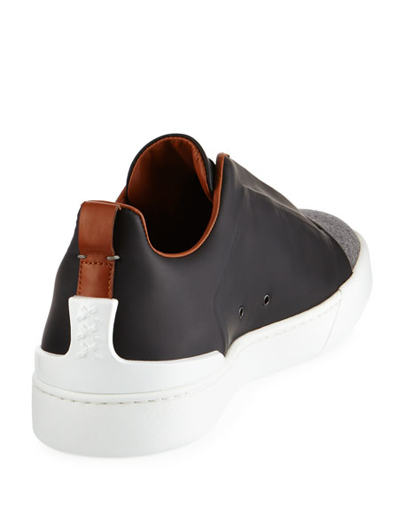 Couture Triple-Stitch Leather & Flannel Low-Top Sneaker, Gray/Black