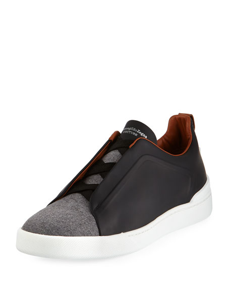 Ermenegildo Zegna Couture Triple-Stitch Leather & Flannel Low-Top
