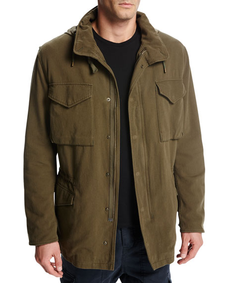 Cotton Hooded Shearling-Lined Army Coat, Olive