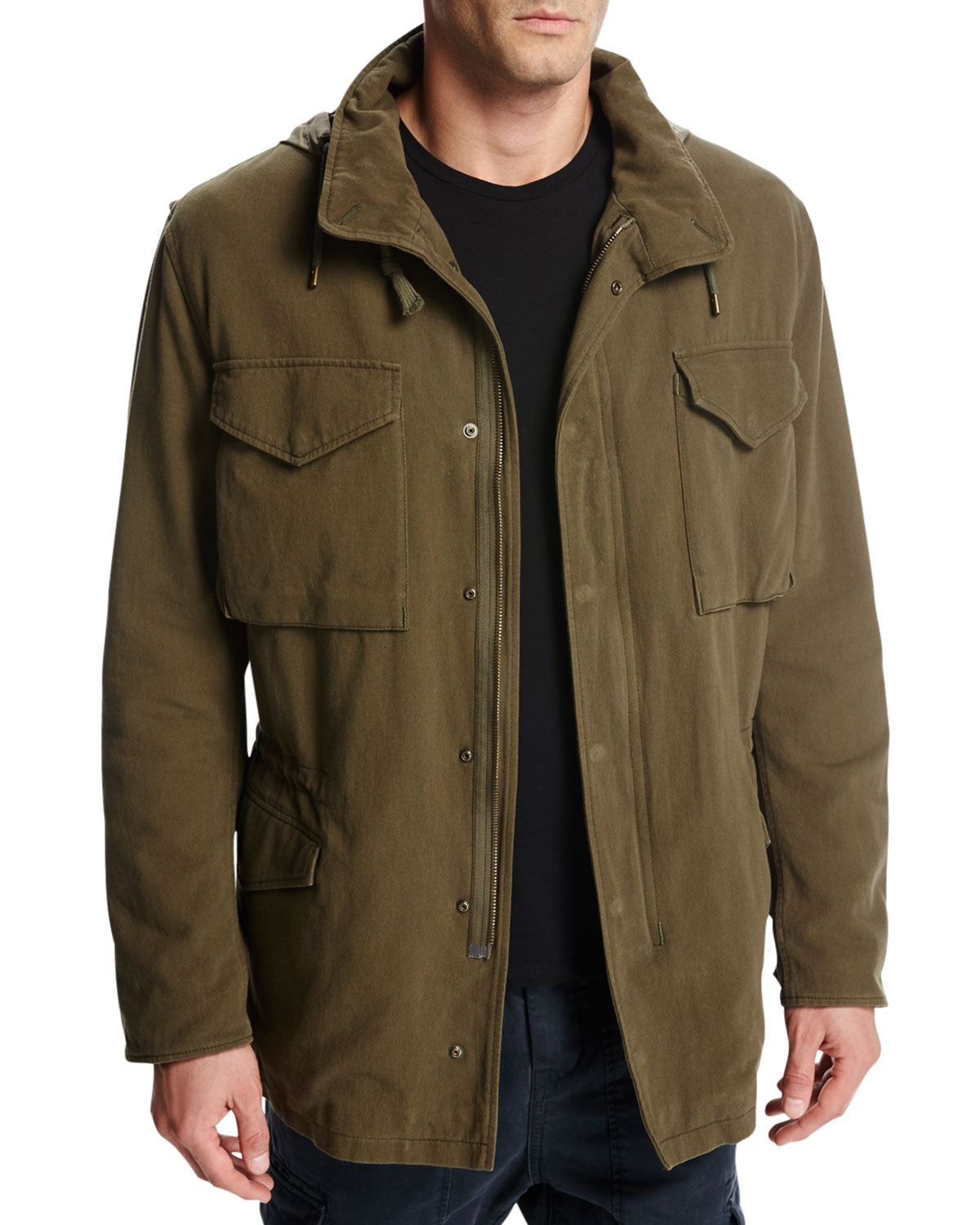 Vince Cotton Hooded Shearling-Lined Army Coat 8a083c3bf18
