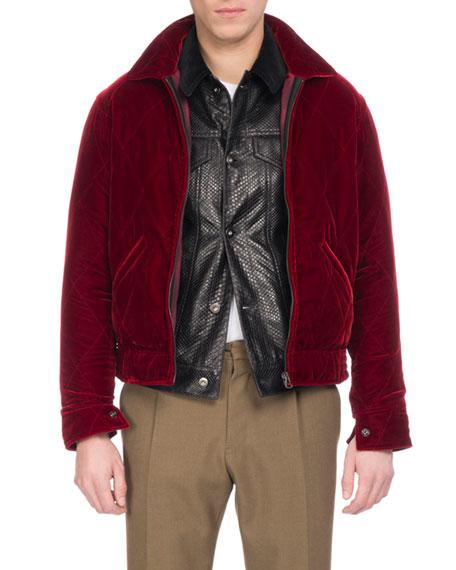 Berluti Velvet Zip-Front Blouson Jacket