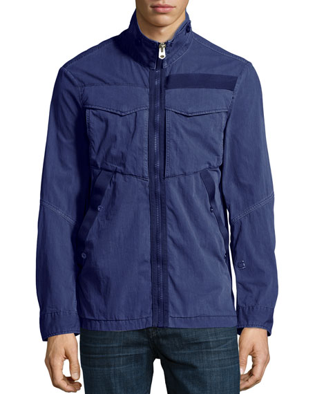 Deline Twill Military Overshirt, Blue