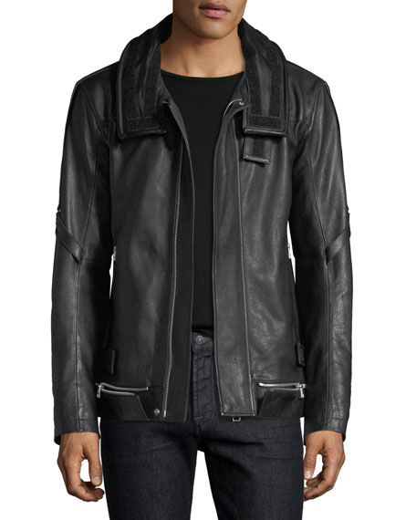Long Leather Zip-Front Coat