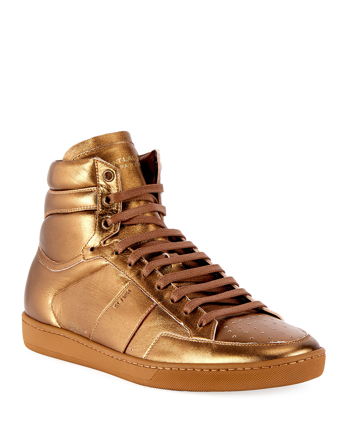 571ed514a40d4 Saint LaurentMen s SL 10H Signature Court Classic Metallic Leather High-Top  Sneakers
