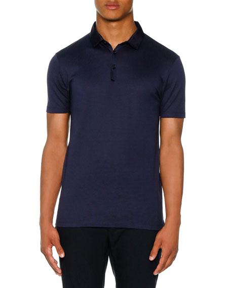 Lanvin Grosgrain-Collar Polo Shirt