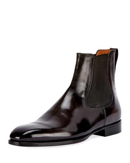 Berluti Leather Chelsea Boot, Gray