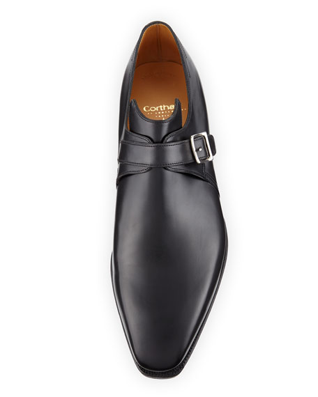 Image 2 of 3: Corthay Arca Calf Leather Monk Shoe, Black