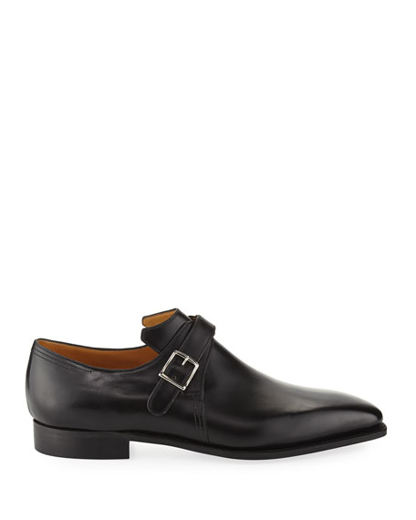 Image 3 of 3: Corthay Arca Calf Leather Monk Shoe, Black