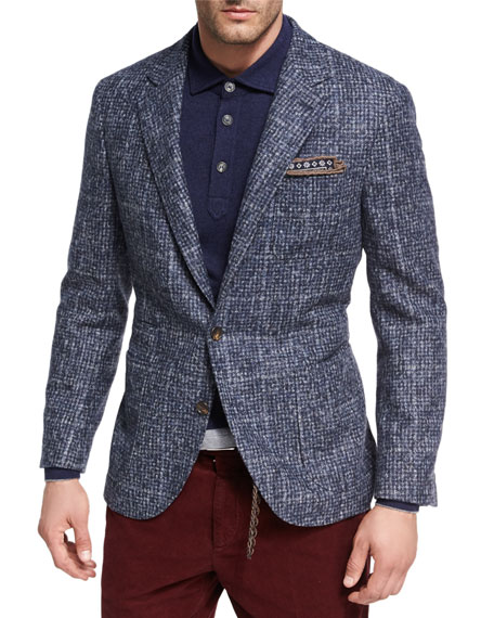 Brunello Cucinelli Houndstooth Boucle Sport Jacket, Medium Blue