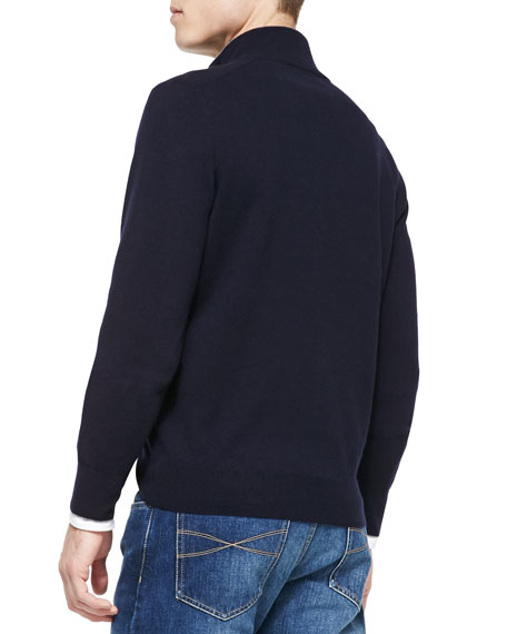 2-Ply Cashmere Half-Zip Pullover