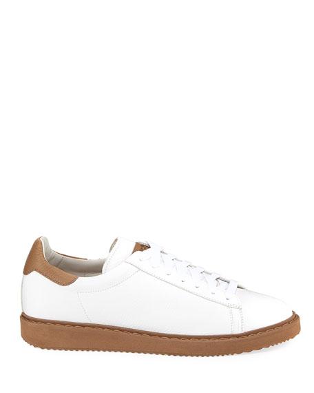 Brunello Cucinelli Men's Leather Low-Top Sneakers, White