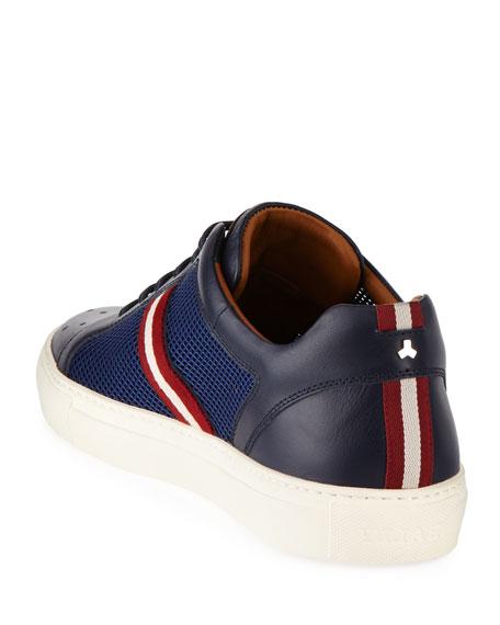 Herk Men's Mesh & Leather Low-Top Sneakers, Navy