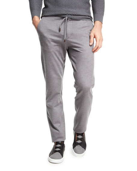 Ermenegildo Zegna Drawstring Jogger Pants, Dark Gray