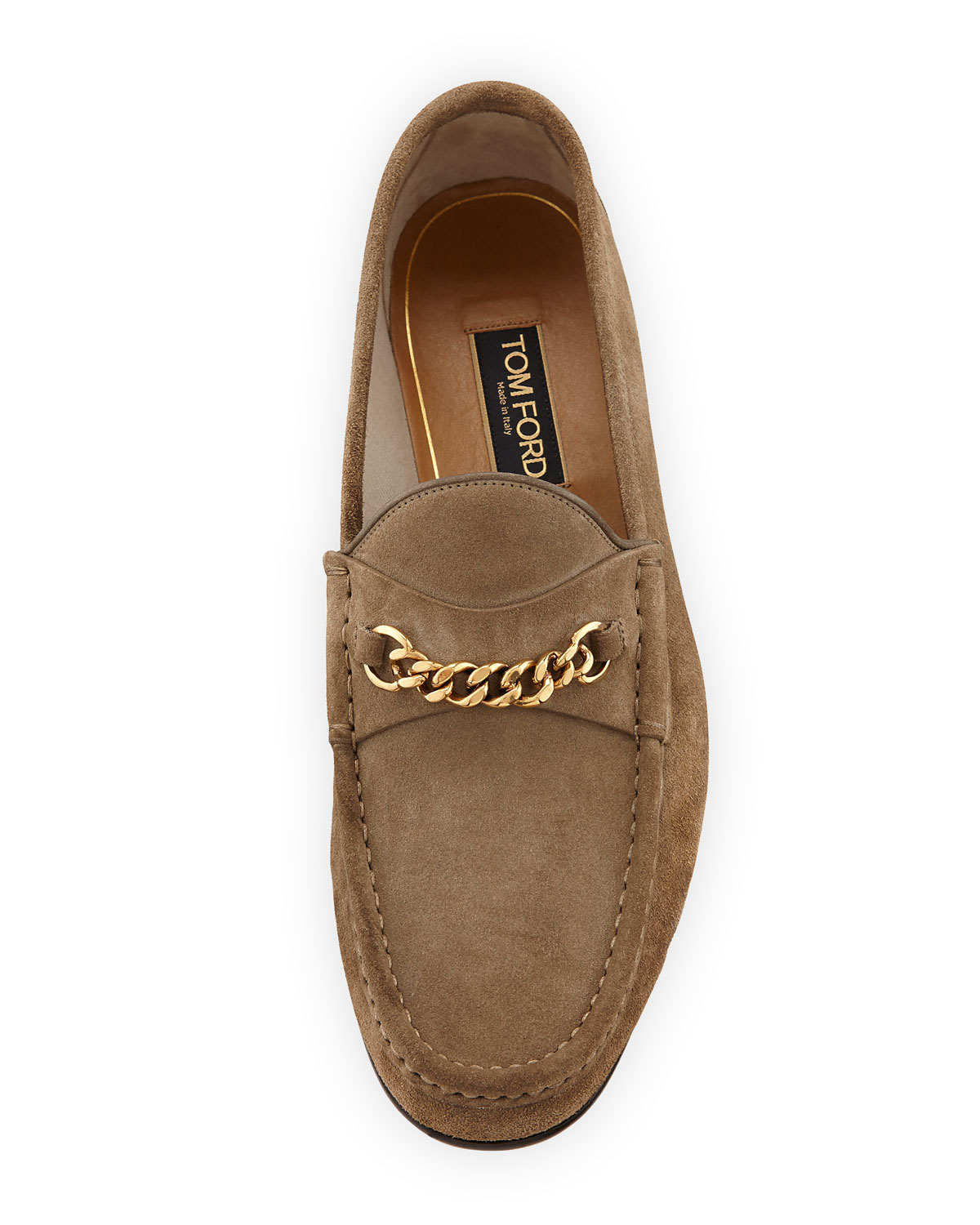 4649a64d3 TOM FORD Suede Chain-Link Loafer, Tan | Neiman Marcus