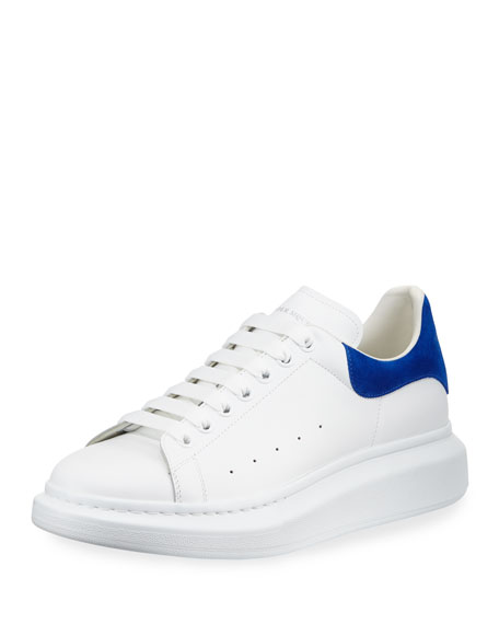 Leather & Suede Low-Top Sneaker, White/Blue