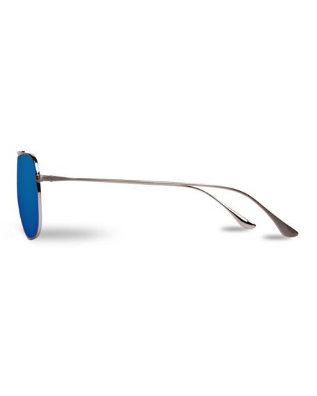 Swing Titanium Rectangular Aviator Sunglasses, Silver/Blue