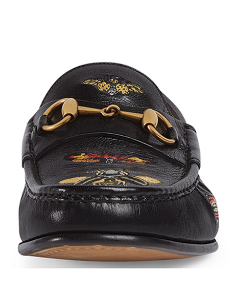 Embroidered Leather Horsebit Loafer