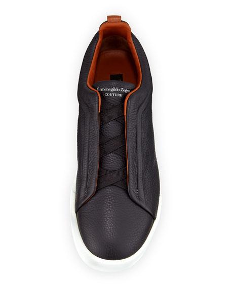 Triple-Stitch Slip-On Sneakers, Gray