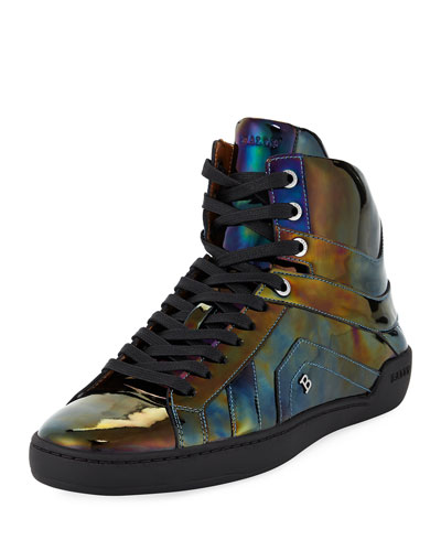 Men's Eticon Petrol Patent Leather High-Top Sneakers