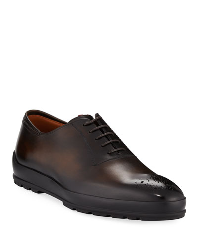 Redison Brown, Mens brushed calf leather oxford shoe in caramel Bally
